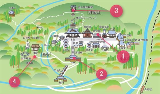 久遠寺の御朱印がもらえる地図