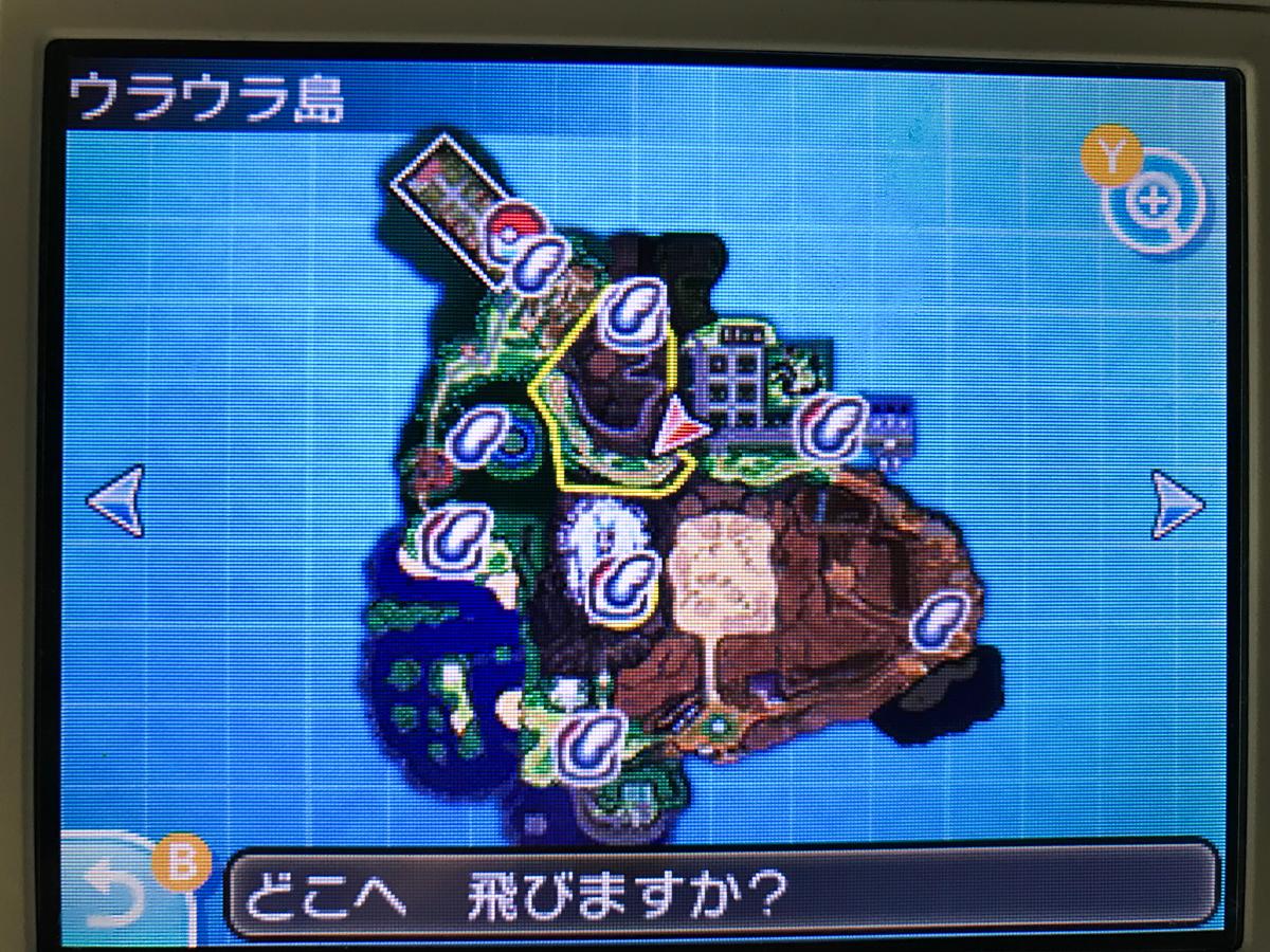 メタモンの出現するウラウラ島の地図